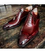 American Designer Handmade Men's Brogues Toe Maroon Leather Dress Formal... - $144.99+