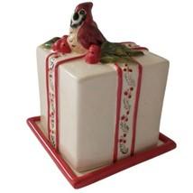 Blue Sky Clayworks Cardinal On Gift Box Christmas Ceramic Heather Goldmi... - $39.99