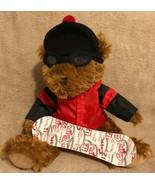 "Liz Claiborne Plush Teddy Bear Snowboard Snow Board 12"" Seated Hat Jacke... - $14.84"
