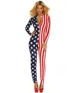 Women's USA America Flag Patriotic Full Length Outfit Catsuit Bodysuit - $49.95