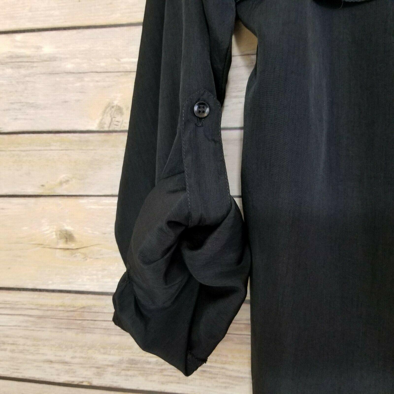 Vtg Diane von Furstenberg DVF Woman's Top Blouse Shirt Button Front Black Sz L image 3