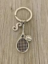 Personalized Tennis Racquet Keychain with Letter Charm, Custom Tennis Gi... - $14.99