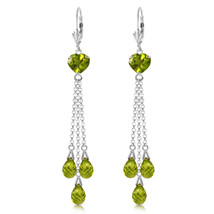 9.5 Carat 14K Solid White Gold Chandelier Earrings Briolette Peridot - $567.90