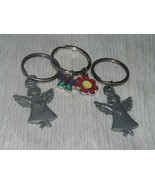Estate Lot of 3 Carved Pewter Angles with Hearts & Enamel Butterfly & Fl... - $9.85