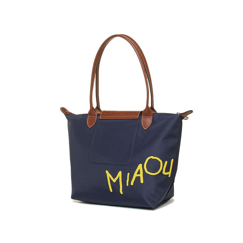 France Made Longchamp Le Pliage Miaou Cat Small Tote Bag Navy 2605576556 Auth