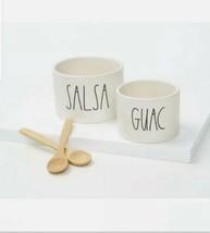 RAE DUNN Guac and Salsa Bowl Set with 2 Bamboo Spoons - NIB - $30.84