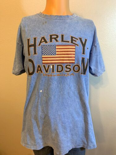 Primary image for Vintage Harley Davidson Distressed Faded Blue T Shirt Alton IL Large