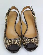 Franco Sarto Name women's slingback sandals peep pumps animal print size... - $19.53