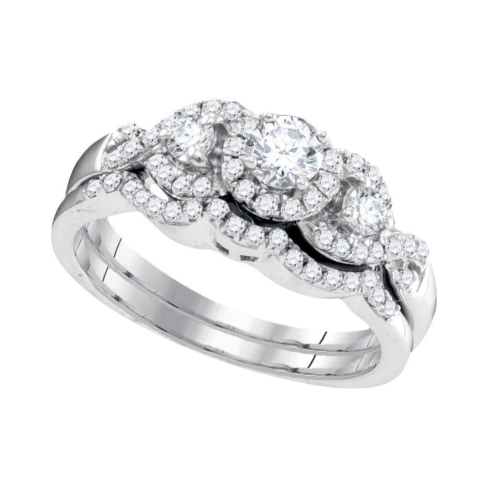 Primary image for 10k White Gold Round Diamond Bridal Wedding Engagement Ring Band Set 5/8 Cttw