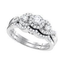 10k White Gold Round Diamond Bridal Wedding Engagement Ring Band Set 5/8... - £619.52 GBP