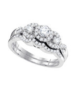 10k White Gold Round Diamond Bridal Wedding Engagement Ring Band Set 5/8... - £612.21 GBP