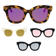 SA106 Color Mirrored Horned Rim Flat Lens Cat Eye Womens Retro Sunglasses - $12.95