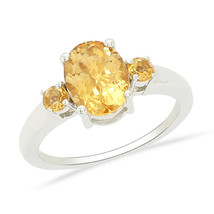 Yellow Shiny Oval Citrine Gemstone 925 Sterling Silver Jewelry Ring Sz7 ... - $17.75