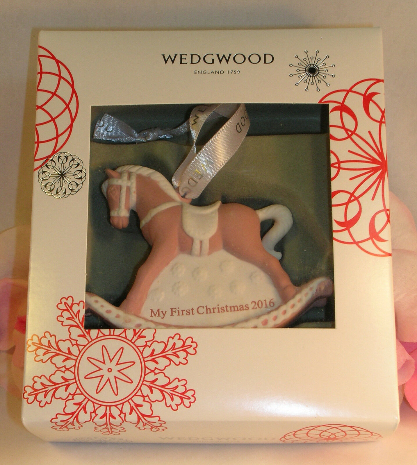 New Wedgwood Pink Jaspeware Baby 1ST First Christmas Rocking Horse Ornament 2016