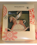 New Wedgwood Pink Jaspeware Baby 1ST First Christmas Rocking Horse Ornam... - $34.99