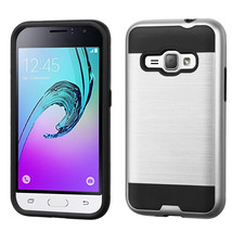 Matte Hybrid Armor Cover Case for Samsung Galaxy J1 2016 /  Amp 2 - Silver  - $4.99