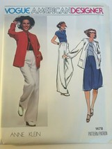 Vogue American Designer Anne Klein Sewing Pattern 1478 Jacket Pants Skir... - $22.49