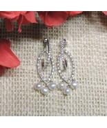 Sterling Silver Diamond Natural Freshwater Pearl Dangle Drop Earrings 2.... - $47.85