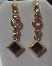 RJ Graziano Womens Blue Dangle Gold tone Chain Link Earrings - $23.75