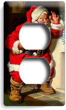 VINTAGE RETRO SANTA CLAUS CHRISTMAS TIME OUTLET WALL PLATE COVER ROOM HO... - $8.07