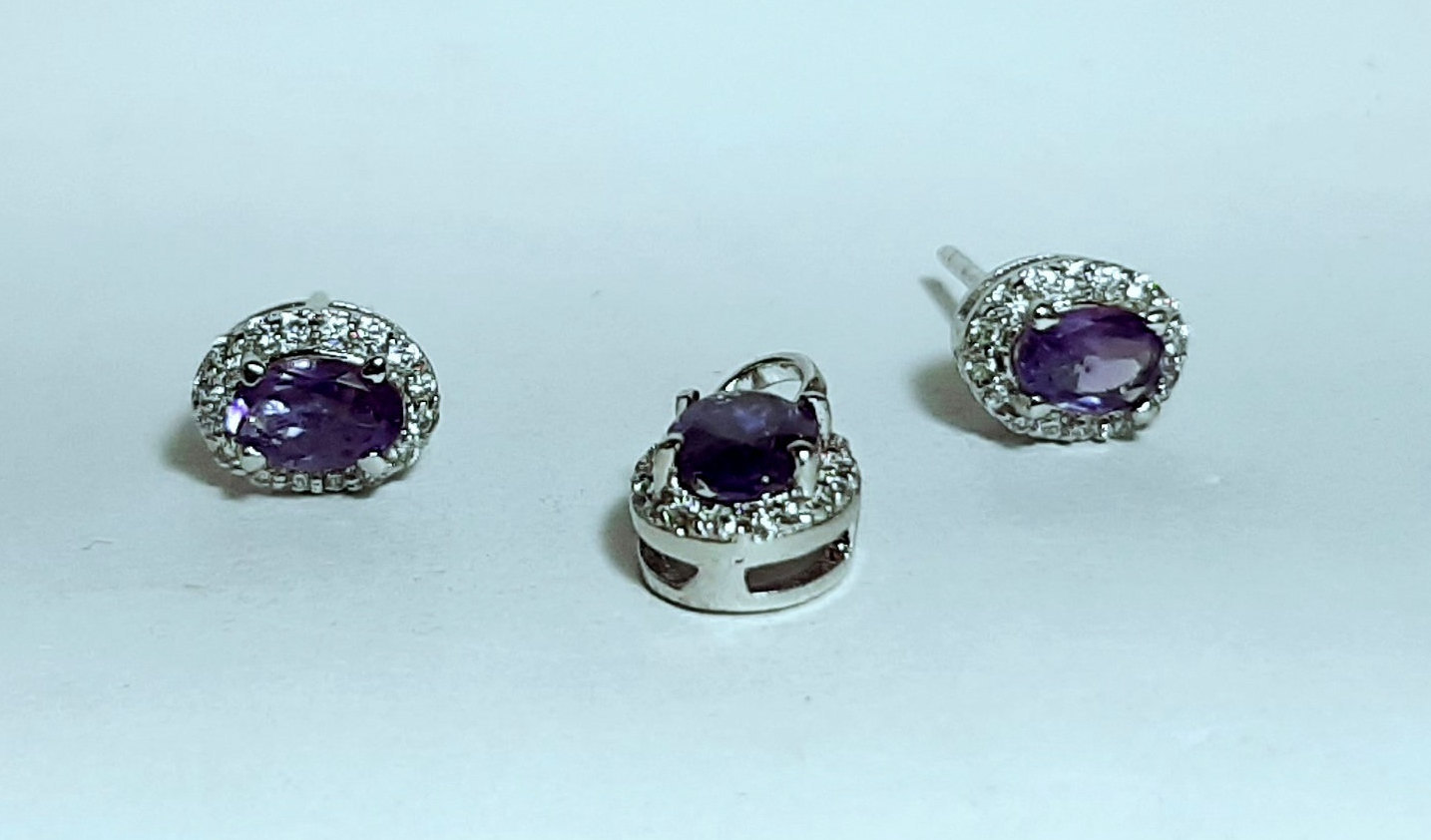 925 Sterling Silver Natural Amethyst And Cz Gemstone Handcrafted Design Women's  image 5