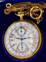 MUSEUM 18k Gold&Enamel Longines Chronometer Chronograph Captain watch.World map - $13,300.00