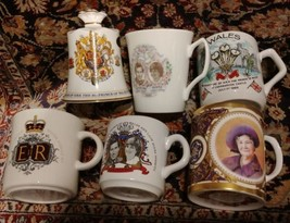 BRITISH COMMEMORATIVE lot Elizabeth lady Diana Prince Charles mugs bell - $52.32