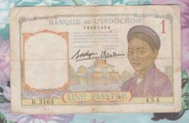 French Indo-China, 1 Piastre, 1936, P-54b, Laos Text Type 1, Signature 9... - $10.00