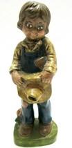 "1976 Handpainted Farm Boy Cowboy Ceramic Antiqued 8.5"" Headed to Church ... - $28.70"