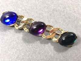 3 cab stone Gold tone curb link Pin Brooch bar - $19.01