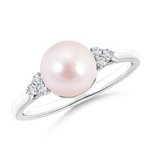 8mm Akoya Cultured Pearl & Trio Diamond Ring Silver/ Gold Size 3-13 - $588.75+