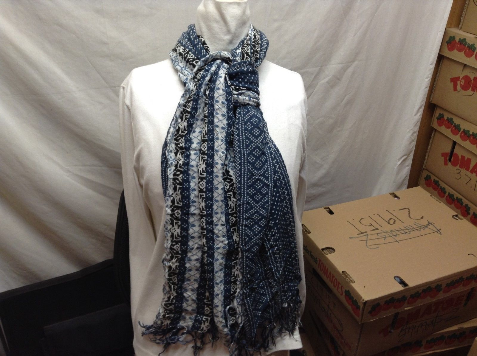Large wide Blue Black White Multi-Pattern Scarf