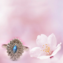 Rainbow Moonstone Marquise Shape Vintage 925 Silver Inspired Ring - $19.07