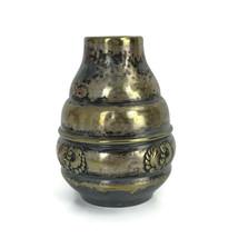 """Vintage Gero Danish Denmark Silverplated Metal Vase Monogrammed Aage 4-1/8"""" - $29.29"""