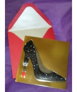 Papyrus All Ocassion Cards black glitter High Lipstick Heel Shoe 8 boxed... - $21.77