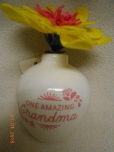 New Hallmark porcelain vase w/ flower says: * One Amazing Grandma * Chri... - $7.43