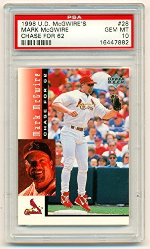 1998 Upper Deck Mark McGwire PSA 10 (Graded Gem Mint) Chase for 62 Card #28