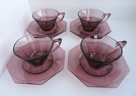 Hazel Atlas Moroccan Amethyst Glass Octoganal Saucers & 6oz Tea Cups 12 ... - $50.10