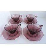 Hazel Atlas Moroccan Amethyst Glass Octoganal Saucers & 6oz Tea Cups 12 ... - $50.10