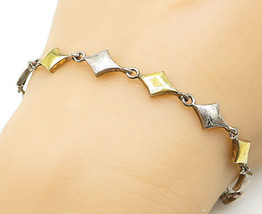 925 Sterling Silver - Vintage Two Tone Patterned Link Chain Bracelet - B... - $26.98