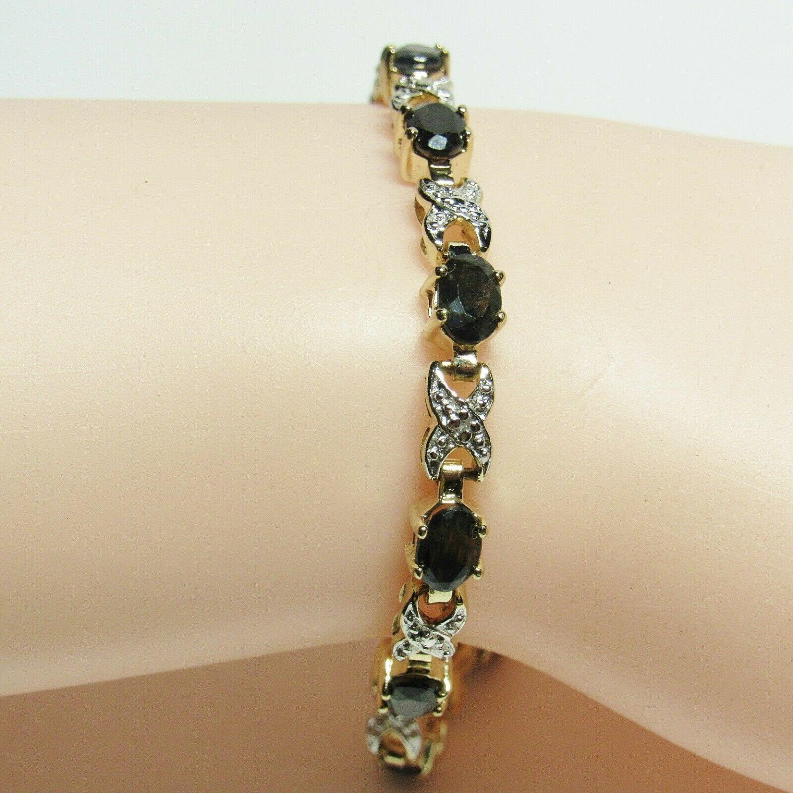 "HSN Technibond Gold Sterling Silver Sapphire Diamond Gemstone Tennis 7"" Bracelet image 8"