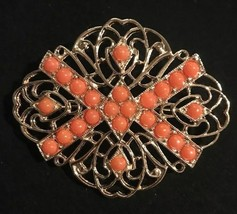 vintage Signed Sarah Coventry orange ballotini ball gold tone filigree b... - $14.84