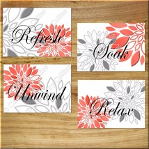 Coral and Gray Bathroom Wall Art Picture Prints Decor Floral Flower Words Modern - $13.99