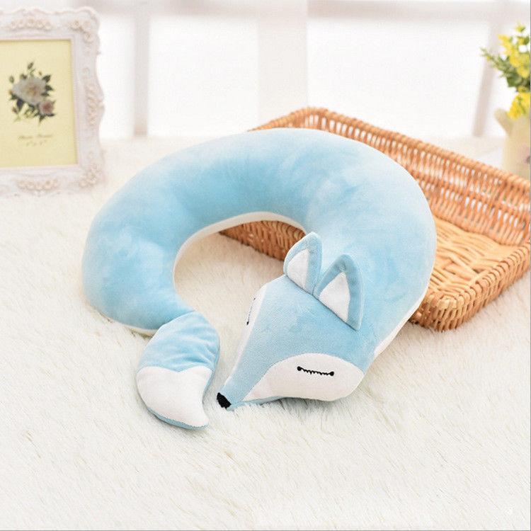 Neck Travel Pillow Fox Animal U Shaped Head Support Air Cushion Portable Plane