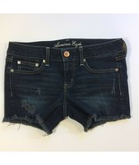 American Eagle Outfitters Stretch Denim Jean Shorts Size 6 Dark Wash Cut... - $19.99