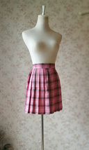 Pink Plaid Skirt Women Girl Mini Pleated Plaid Skirt Pink Tartan Skirt image 3