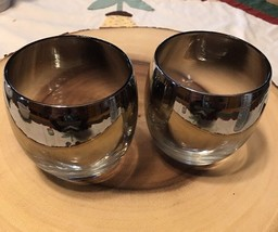 2 Vintage DOROTHY THORPE Silver Fade ROLY POLY Bar Glasses - te - $5.94