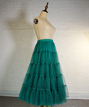 Women Emerald Green Sparkle Skirt Tiered Long Tulle Skirt Evening Maxi Skirt image 4