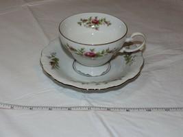 Johann Haviland Bavaria Germany Tea Cup and Saucer Set Pink Rose gold trim - $21.37