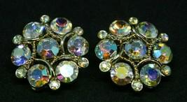 Lisner Aurora Borealis Pink Rhinestone Flower Gold Tone Clip Vintage Ear... - $29.69